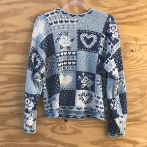 Vintage | Blue & White Patchwork Design Sweater